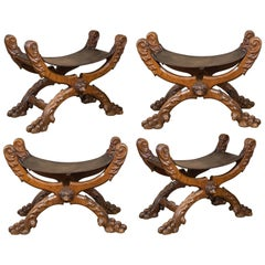 Set of Four Spanish Carved Walnut Folding Stools, 1880