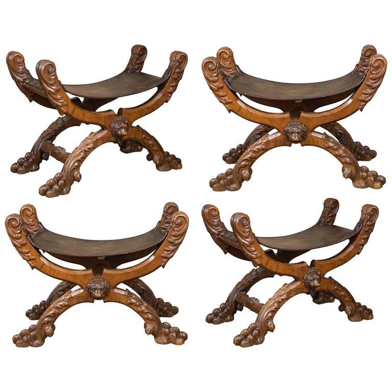 Set of Four Spanish Carved Walnut Folding Stools, 1880