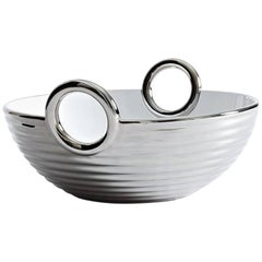 Contemporary Ceramic Basket Platinum Glazed Alaya Small