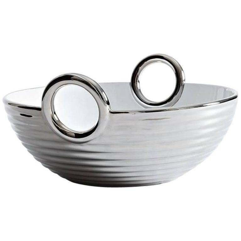Contemporary Ceramic Basket Platinum Glazed Alaya Small  For Sale