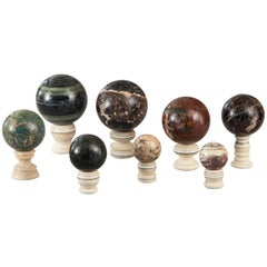 Set of Eight Specimen Marble Spheres on Stands