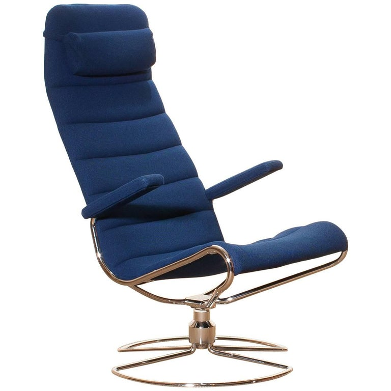 1980s, Royal Blue 'Minister' Chair by Bruno Mathsson