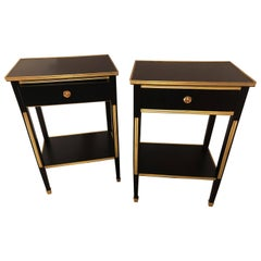 Pair Russian Neoclassical Style Ebony Finish One Drawer Stands or End Tables