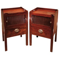 George III period mahogany bedside cabinets with tray tops