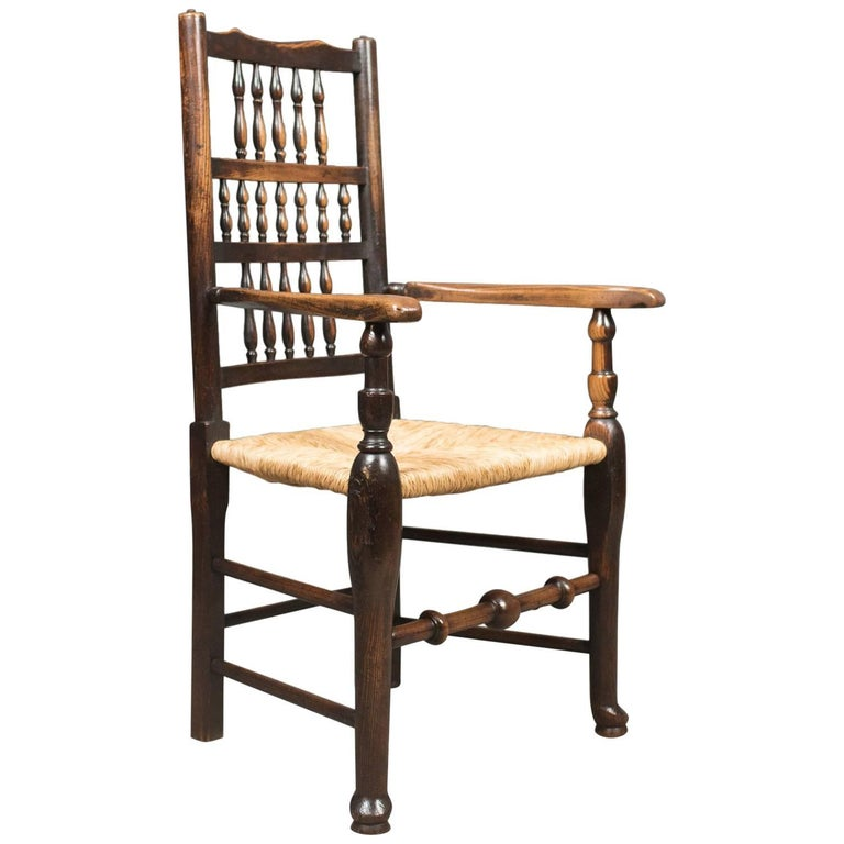 Antique Elbow Chair, Victorian Lancashire Spindle Back Dining, circa 1870  For Sale - Antique Elbow Chair, Victorian Lancashire Spindle Back Dining, Circa