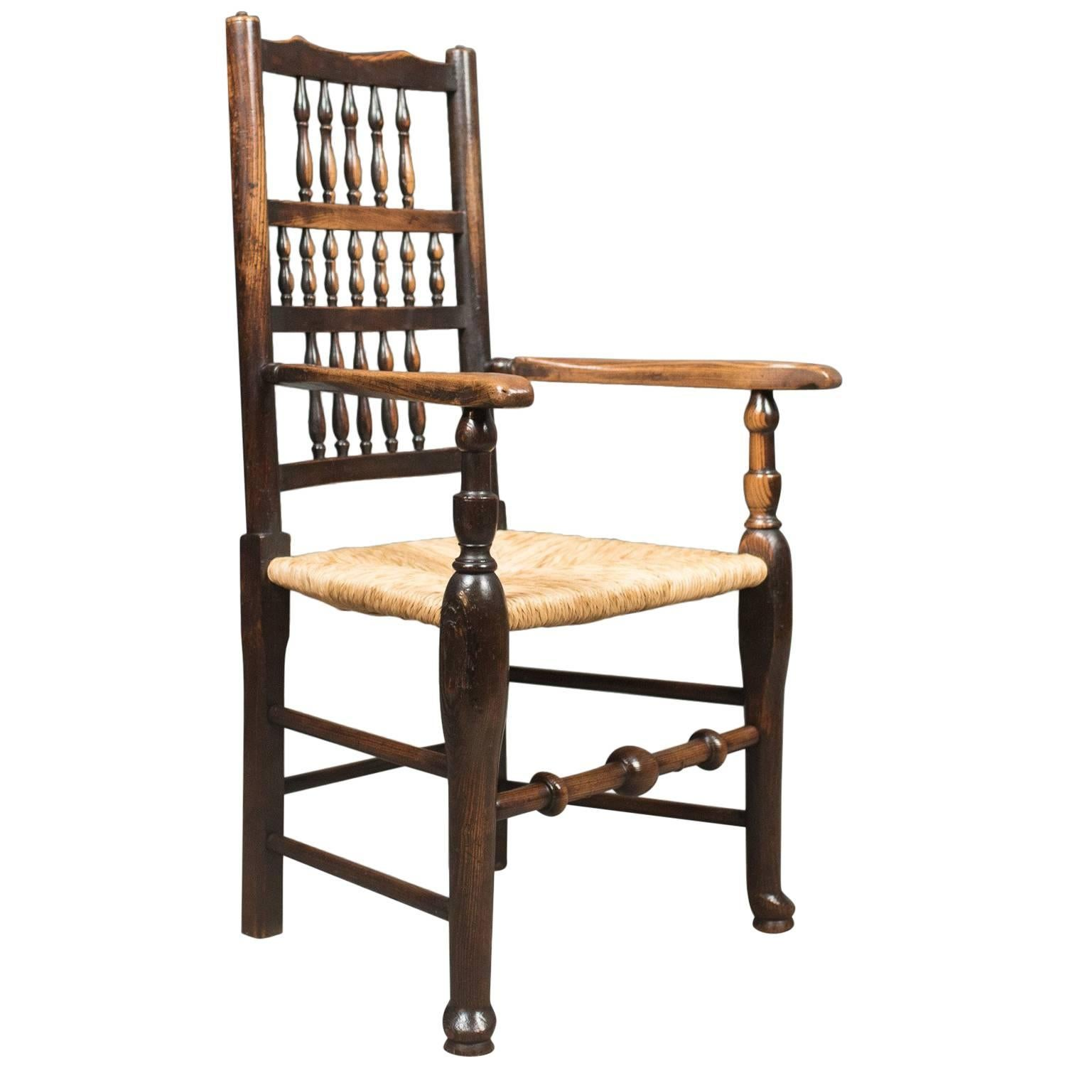 Antique Elbow Chair, Victorian Lancashire Spindle Back Dining, Circa 1870  For Sale