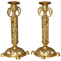 Pair of Brass Victorian Candlesticks with Satanic Faces by William Tonks and Son