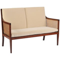 1920s Cane and Mahogany Sofa
