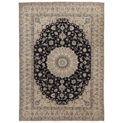 Vintage Persian Silk and Wool Nain Rug