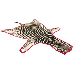 Forsyth One of a Kind Zebra Hide Rug Trimmed in Luxe Red Velvet
