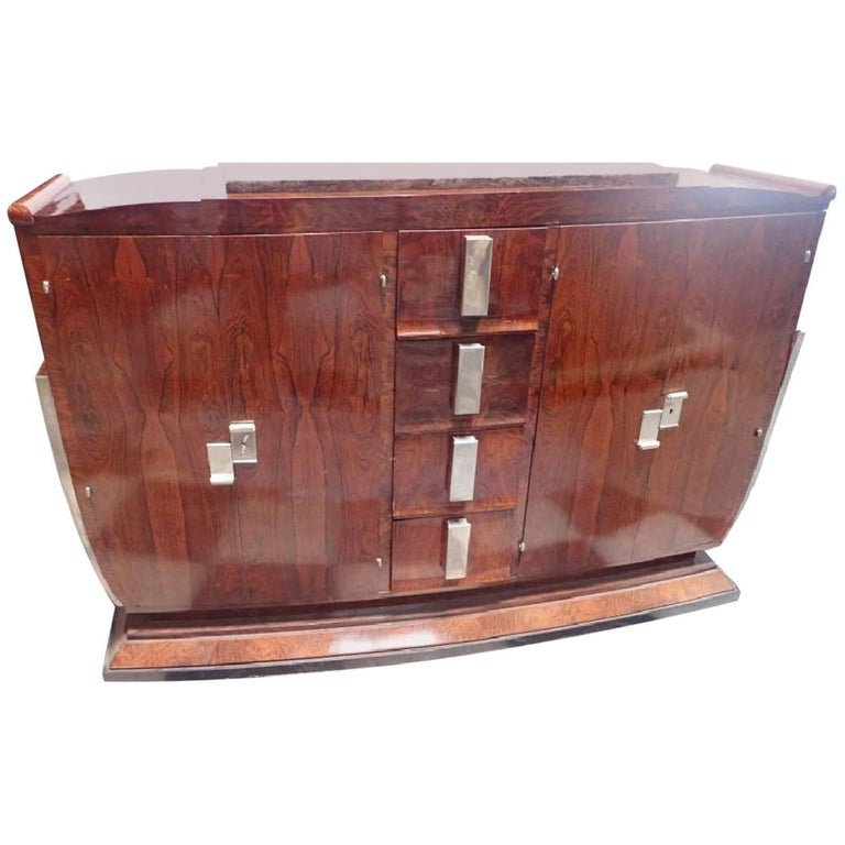 French Art Deco Marble U-Shaped Rosewood Buffet Side Board Dresser Cabinet