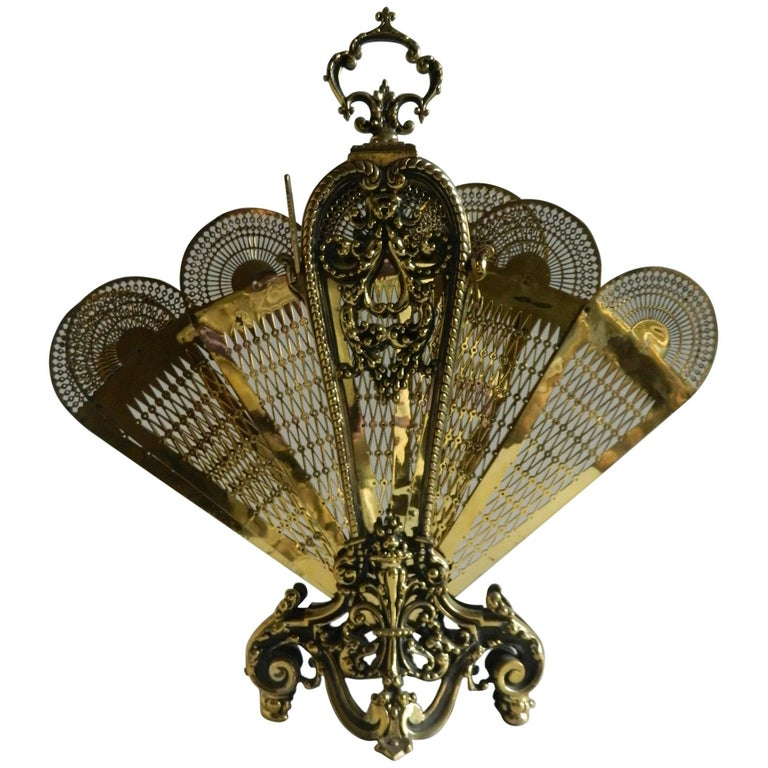French Polished Brass Fan Fire Screen, 19th Century