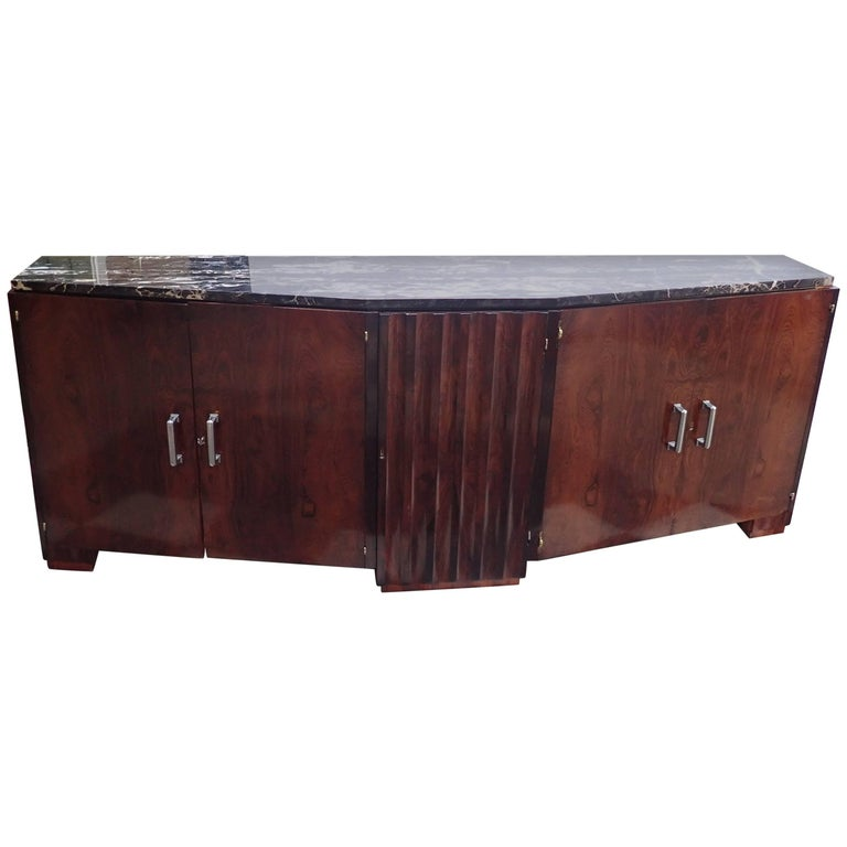 French Art Deco Portoro Bouno Marble-Top Rosewood Buffet or Sideboard