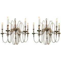 Pair of Midcentury Six-Arm Silver-Plated Chandeliers