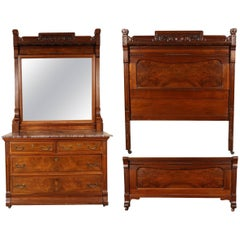 Victorian Marble-Top Dresser Chest and Bedstead