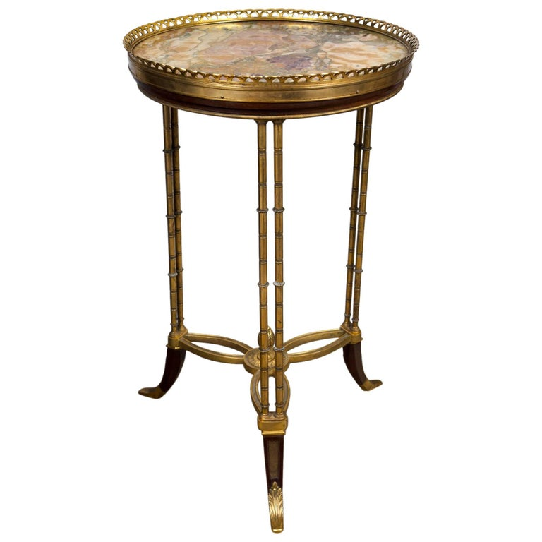 Marble, Bronze and Mahogany Gueridon Table