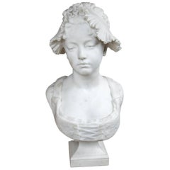 19th Century White Marble Bust of a Young Girl