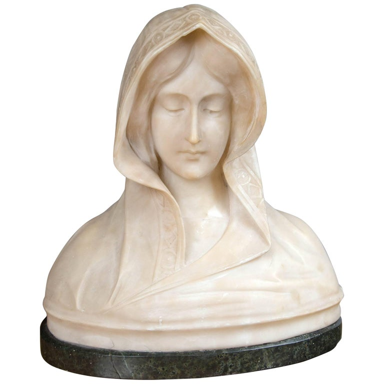 19th Century Carved Marble Bust of a Young Woman
