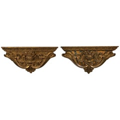 Pair of Italian, 17th Century Carved Wood Brackets