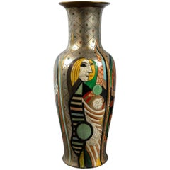 Tall Picassoesque Pottery Vase