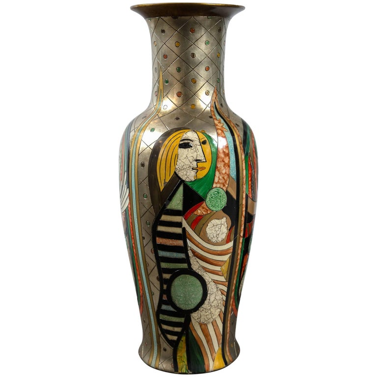 Tall Picassoesque Pottery Vase For Sale