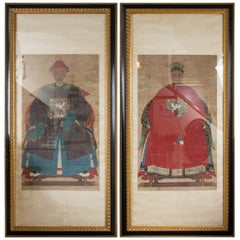 Pair of 19th Century Chinese Ancestral Portraits