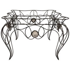 Unique Centre Table / Console in Wrought Iron and Glass by Andre Dubreuil, 1986