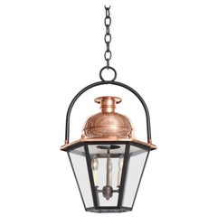 20th Century French Copper and Glass Lantern with Iron Ring Top
