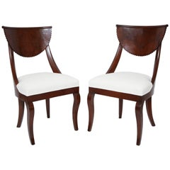 Pair of 19th Century Italian Walnut Side Chairs with Scalloped Backrests