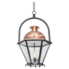 20th Century Copper and Glass Lantern/Pendant with Iron Ring Hanger, circa 1900