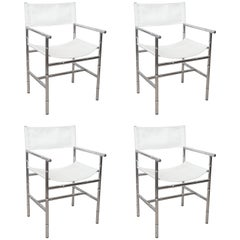 Set of Four Faux Bamboo Chrome Director's Chairs