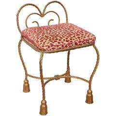 Vintage Italian Gilt Metal Rope and Tassel Vanity Chair