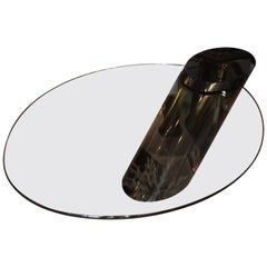 Cantilevered Glass and Black Lacquer Cocktail Table