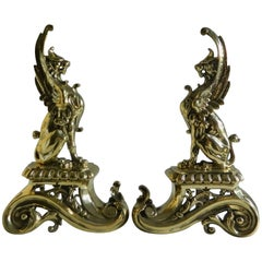 Pair of Brass Chenets or Andirons, Sphinx Motif, 19th Century