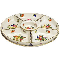 Herend Presentoir Seven-Part Round Salver Bouquet De Fruits Hungary