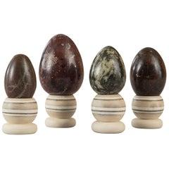 Set of Four Egg-Shaped Specimen Marbles