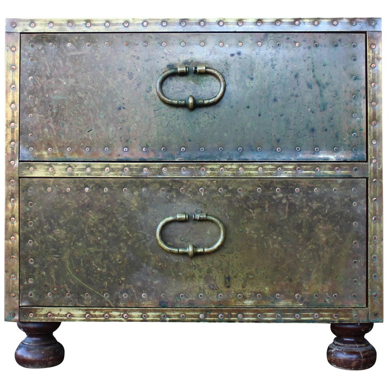 Midcentury Brass Clad Two Drawer Chest by Sarreid