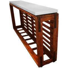 French Textile Cart as Console