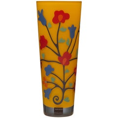 Italian Modern Yellow Glass Flower Vase by Sottsass Associati
