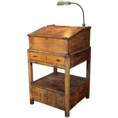 Hostess Stand Vintage Wooden Storage Table Standing Writing Desk Gooseneck Lamp