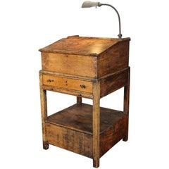 Hostess Stand Vintage Wooden Storage Table Standing Writing Desk Gooseneck Lamp