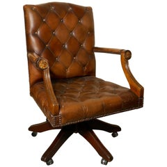Chesterfield Leather Library or Office Desk Chair