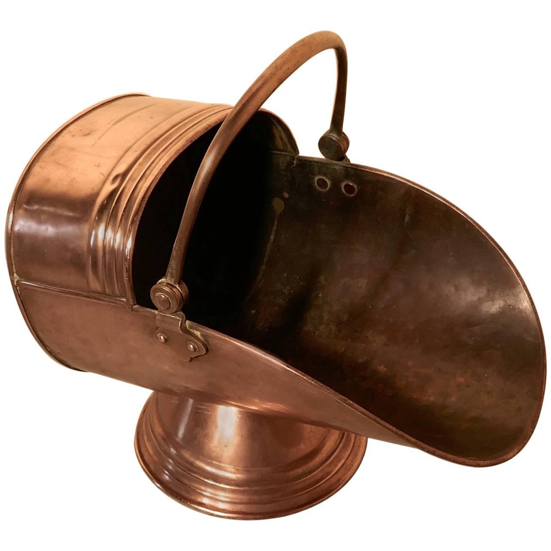 Victorian Arts & Crafts Copper Helmet Coal Scuttle