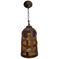 Arts and Crafts Brass & Amber Glass Pendant Light Jan Eisenloeffel Style Lantern