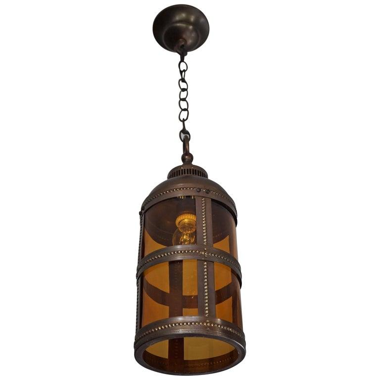 Arts & Crafts Brass and Amber Glass Pendant Light Jan Eisenloeffel Style Lantern