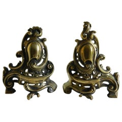 Pair of Brass Small Chenets or Andirons with Shield and Scrolls, 19th Century