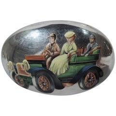 Nostalgic Motoring Days English Sterling Silver and Enamel Vanity Jar
