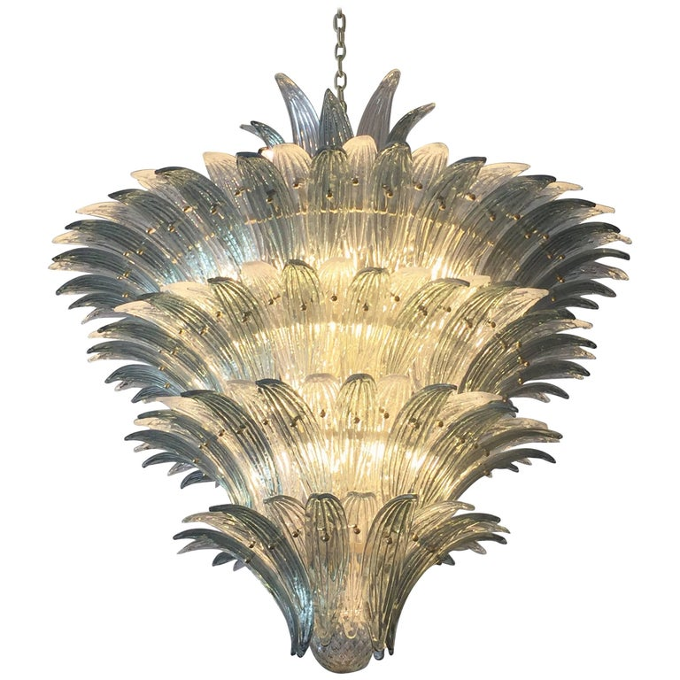 Oversized Italian Murano Palm Style Chandelier For Sale
