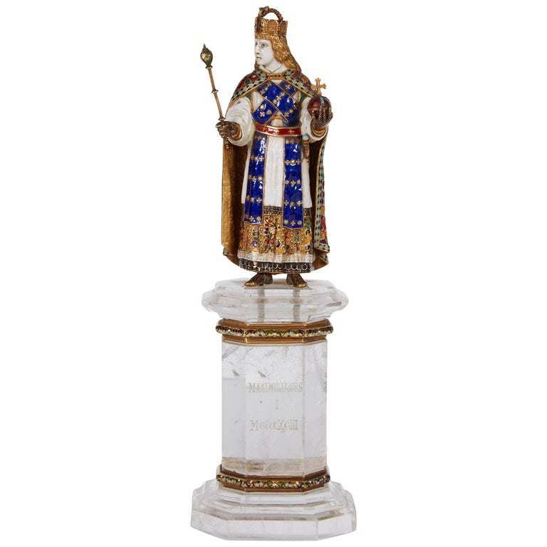 Enamel Gold and Rock Crystal Figure of Emperor Maximilian I by Reinhold Vasters For Sale