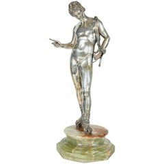 Large Italian Silver Figure / Statue of a Male Nude Narcissus after the Antique